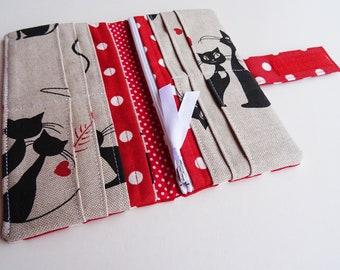 Red Fabric Wallet, Black Cats Wallet, Red Polka Dots Wallet, Cotton Wallet, Vegan Wallet, Handmade Wallet, Long Bi-fold Wallet, Woman Clutch
