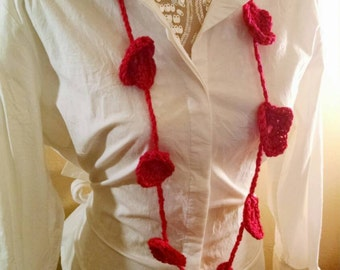 Crocheted Heart Necklaces in red/jewelry/gift/party favor