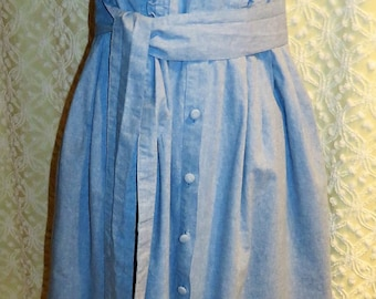 Vintage Laura Ashley Made in Rep of Ireland Women's Denim Jumper Dress with Matching Belt