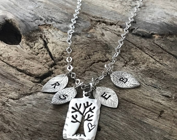 Family Tree Initial Necklace for Mom | Multiple Initials | Family Necklace | Silver Family Tree | Mom Necklace