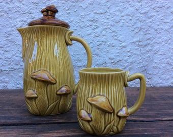 ceramic coffee pot and mug