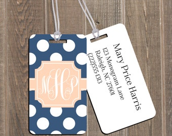 Personalized Monogram Luggage Tag - Polka Dots Luggage Tags - Custom Monogram - SEE ITEM DETAILS Section to Customize it!