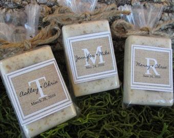 Wedding Soap Favors Rustic Wedding Favors Burlap Wedding Favor Monogram Wedding Favor Organic Soap Favor Wedding Favor Monogram Soap Favor