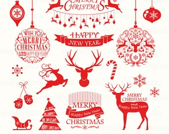 Christmas Clipart Red With Rustic Vector Reindeer