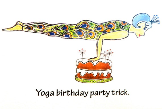 Yoga Birthday Card Say Happy Birthday With A Smile Just