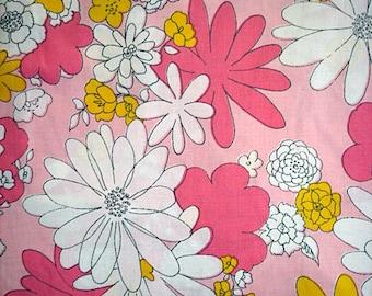 Vintage 1960's  Pink Flower Power Sheet Fabric