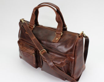 Distressed Brown Leather Weekend Holdall Travel Bag