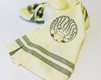 Bunny Towel, Cotton Hand Towel, Embroidered Towel, Easter Towel, Rabbit Towel, Spring Towel, Easter, Rabbit Tea Towel, Bunny Tea Towel