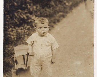Small baby Vintage  Photography, Real Photo Postcard, kid, child, boy, Paper Ephemera, Antique  RPPC Old, black and white