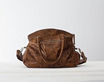 Leather messenger bag , leather shoulder bag , leather purse in pattern Brown - Arethusa bag