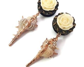 "7/8"" 22mm Plugs-Mermaid Plugs-Dangle Plugs-Stretched Ears-Festival Fashion-Wedding Plugs-Bridal Gauges-Summer Fashion-Girly Plugs-Pretty"