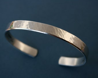 "1/4"" Hammered Secret Message Cuff Bracelet - Handstamped Jewelry - Inspirational - Grad - Wedding - Mom"