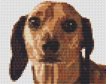 "Dachshund Sausage dog Counted Cross Stitch Kit 5"" x 5.2.5"" 12.5 cm x 13cm"