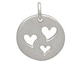 Heart Charm, Sterling Heart Charm, Heart Pendant, Sterling Silver Heart Charm, Love Charm, Hearts Charm, Mom Charm, Heart Jewelry, Hearts