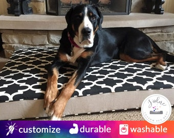 X-Large Foam Dog Bed (Flippable Cover) | HR Foam or Memory Foam |  You Choose Fabrics - Supportive Giant Dog Bed