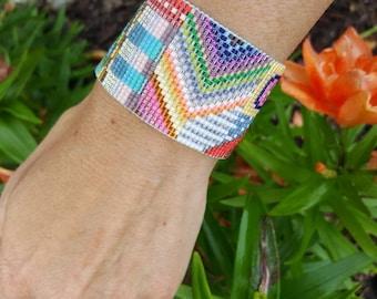 Multicolor Funky Beadloomed Bracelet.  Beadwoven Bracelet