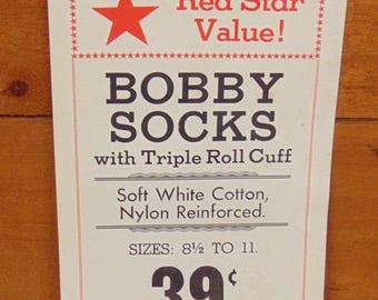 Bobby Sock Advertising Sign, Red Star Value