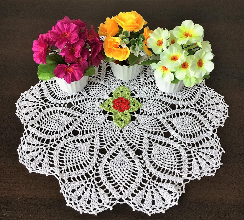 White Doily Knitted Crochet Laced Doily Crochet Flower Doily