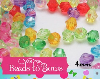 100 4mm Bubblegum Bicone Beads 1.25, 4mm Bubblegum Bead Spacers, Chunky Necklace Supply Bead, Jewelry Supply, Small 4mm Bicone Beads