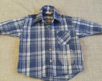 Boys size 2T farm theme hand bleached flannel shirt