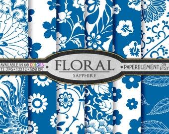 Sapphire Blue Digital Paper: Blue Flower Paper, Blue Floral Paper, Blue Flower Backgrounds, Blue Scrapbook Paper, Blue Floral Download