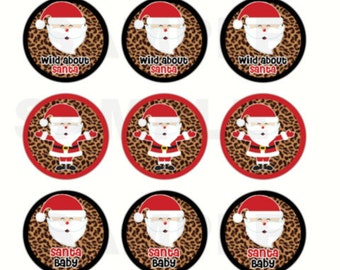 INSTANT DOWNLOAD - Wild About Santa Christmas Bottle Cap Images - 4x6 Sheet - 1 Inch Circles for Bottlecaps, Hair Bow Centers, & More