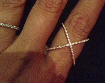 X pave sterling, rose, silver gold only X ring  with 14k vermeil - best quality 6,7,8,9