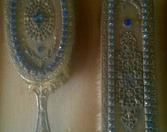 Antique Art Nouveau Czech Blue Jeweled Gilded Metal Brush and Picture Frame Set