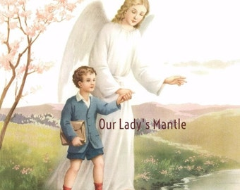 Catholic Picture Print GUARDIAN ANGEL Watching Over A Young Boy On His Way to School
