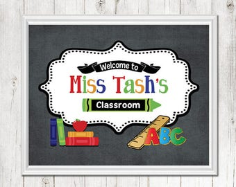 TEACHER Chalkboard Apple Book Ruler Alphabet Sign - Back to School Personalized - Classroom Decor/Gift- Sign - Art - Picture CANVAS or PRINT