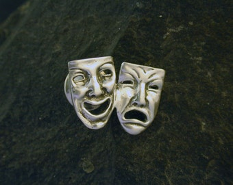 Sterling Silver Happy Sad Comedy Tragedy Scatter Pin