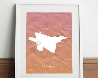 Lockheed F-22 Raptor Aircraft - Art print