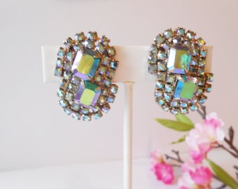 Blue Rhinestone Earrings Vintage Clip-On Blue Rhinestone Costume Jewelry Sparkly Jewelry
