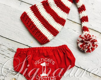Baby 1st Christmas, Christmas Outfit, Baby Girl Christmas clothes, Baby Boy Christmas Clothes, First Christmas Diaper Cover and Santa Hat