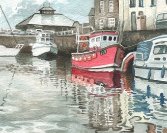 Padstow Harbor 03, ORIGINAL watercolor painting, summer Cornish harbor in watercolor, happy home decor by David Platt, FREE shipping
