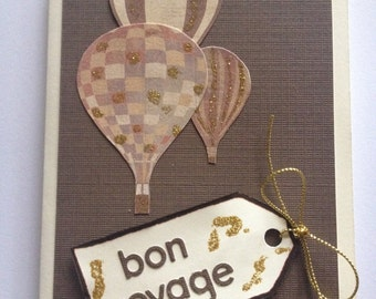 Handmade Bon Voyage card featuring hot air baloons