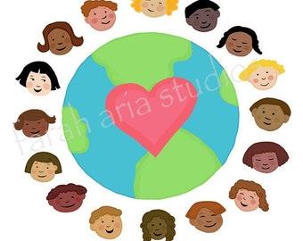 digital download multicultural children diversity small world