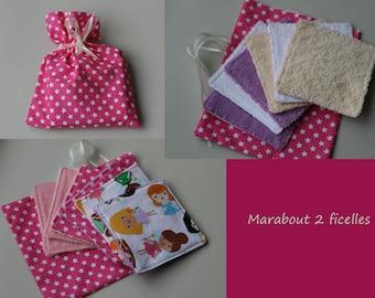 "Set of 6 cotton wipes ""pink fairies"""