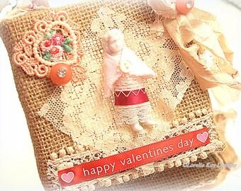 Valentine's Day Picture Frozen Charlotte Fiber Art Mixed Media Shabby Burlap Hanging
