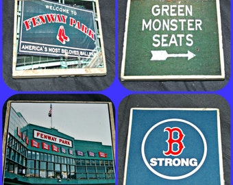 Fenway Park Coasters - Boston Red Sox Gifts - Fenway Park Gifts - Green Monster Seats - Boston Massachusetts - Boston Red Sox Coasters