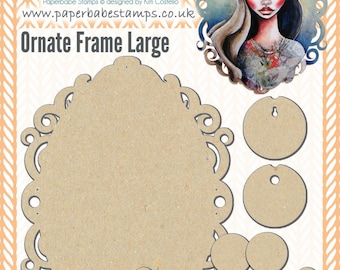 Ornate Frame Large Fibreboard Substrates Kit - Paperbabe Stamps - Complementary MDF Shapes for mixed media and craft.