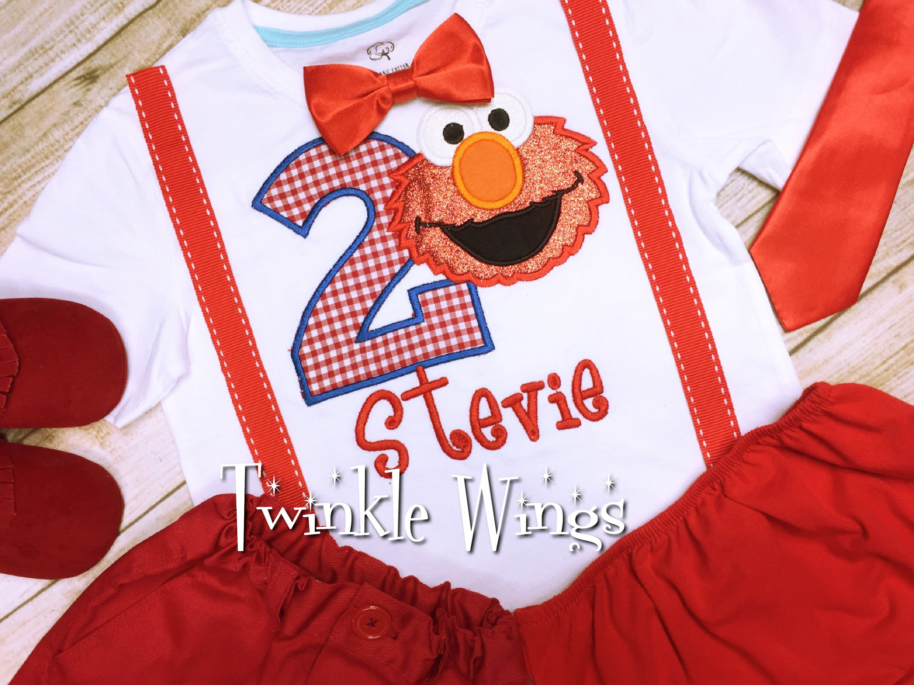 Elmo Sesame Street Inspired Birthday Include Personalised Top 1st 2nd 3rd 4th 5th 6th Party Outfit