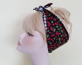 cherry gingham 50s style bandana, rockabilly pin up psychobilly tattoo hairband headband