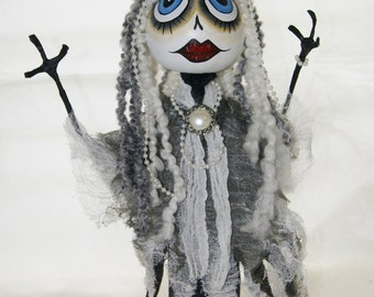Gourd Witch, Art Doll Gourd Swamp Princess, Lady Pearl, OOAK Hand Painted Gourd Figure Art