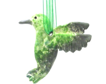 Hummingbird Ornament, Hand-Built Hanging Hummingbird Sculpture