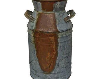 "Milk Can - 7"" Galvanized Finish - Country Rustic Primitive Jug Vase , Perfect rustic wedding, farmhouse crafts"