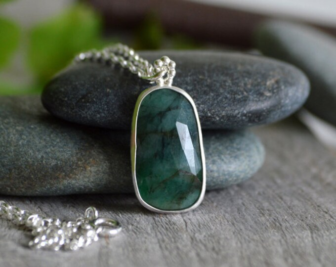 Rose Cut Emerald Necklace, 8.4ct Emerald Necklace, May Birthstone, Large Emerald Necklace Handmade In The UK