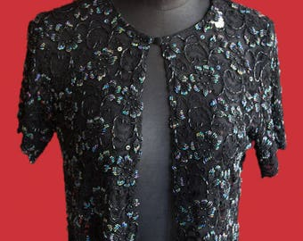 Vintage embellished sequined bolero jacket