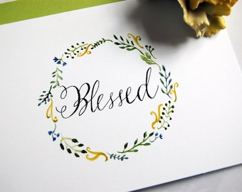 Blessed Card, Watercolor Greeting, Gratitude