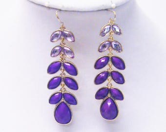 Purple Faceted Cabochon in Gold Plated Bezel Dangle Earrings